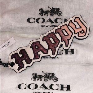 Coach Happy Disney Pink/white sparkle/bag tag/key